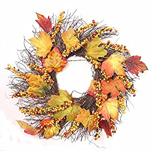 Berry Maple Leaf Wreath Front Door Wall Ornament Garland for Thanksgiving/Christmas/Holiday 3
