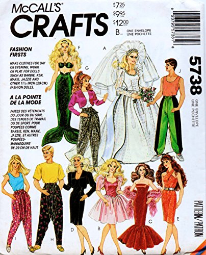 (McCall's 5738 Clothes for Fashion Dolls such as Barbie and Ken, and Other 11.5