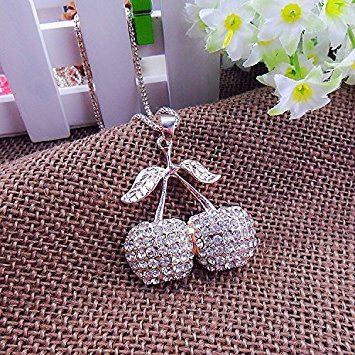 Beautiful Bead Golden Corn Chain Link Rhinestones Studded Cherry Pendent Necklace for Sweater Decoration(1Pcs) ()