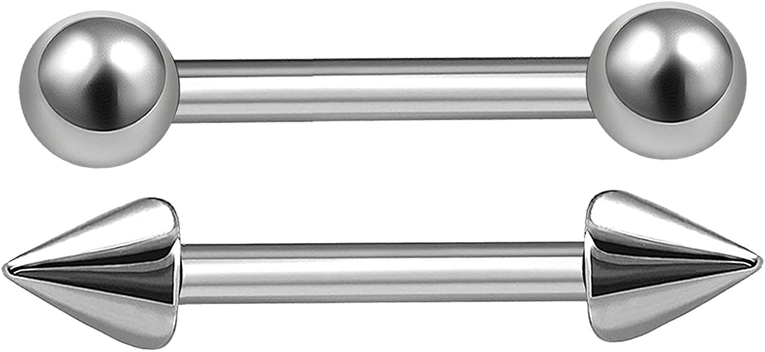 """1pc 16G~1//4/""""-1//2/"""" Curved Eyebrow Barbell Steel with Glow In The Dark Balls"""