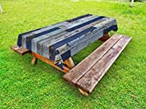 Ambesonne Wood Print Outdoor Tablecloth, Old Rough Wooden Planks with Weathered Look Rustic Log Cabin Door Image, Decorative Washable Picnic Table Cloth, 58 X 120 Inches, Navy Blue