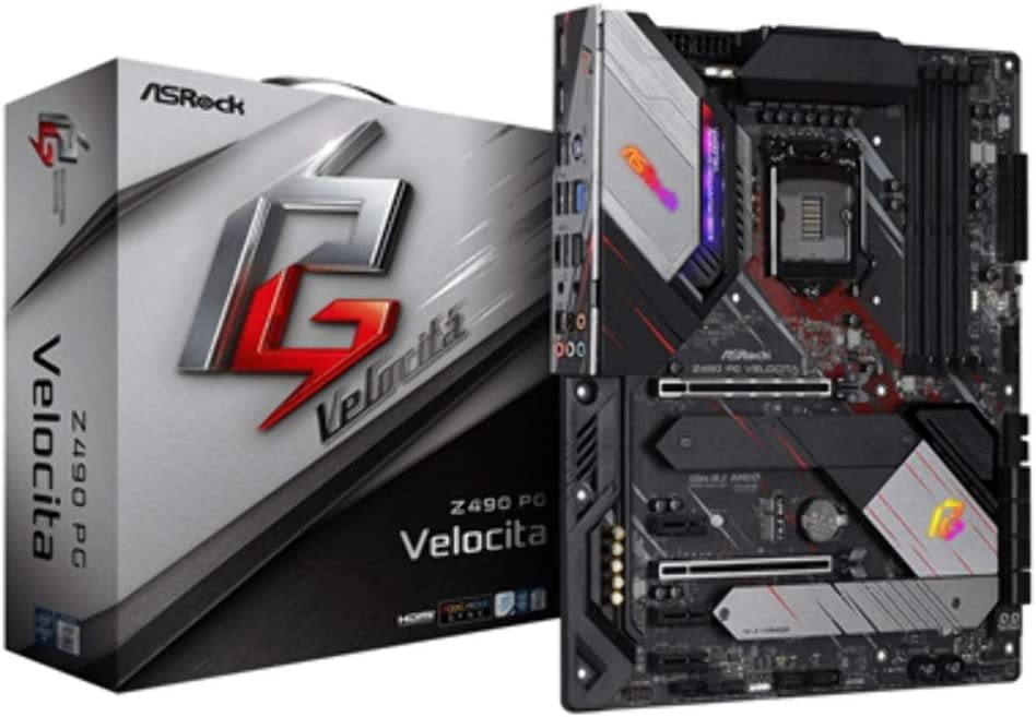 Asrock Z490 PG Velocita Intel Z490 ATX, scheda madre 1200, 4 DDR4, CrossFireX, HDMI, Display Port, 2.5G LAN, illuminazione RGB, M.2