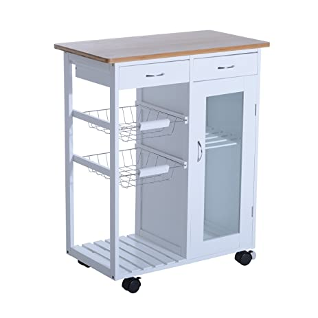 HomCom 34u201d Rolling Kitchen Trolley Serving Cart With Drawers And Cabinet    White
