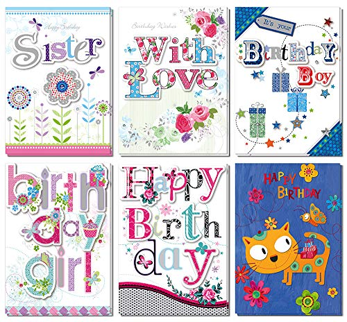 Dream Daisy 12 Pack Birthday Greeting Cards, 6 Designs Handmade Cards with Cute Tip On, Bulk Box Set with 12+1 Pcs White Envelopes, 5 x 7 Inches -