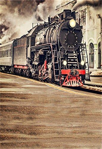 Train Photo Real Railroad (LFEEY 5x7ft Locomotive Backdrop Vinyl Vintage Old Train Railroad Tracks Railway Photography Background Cloth Kids Adults Portrait Travel Party Events Photo Studio Props Video Drape Wallpaper)