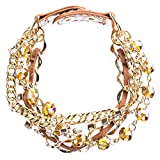 ACCESSORIESFOREVER Women Modern Fashion Crystal Rhinestone Gorgeous Multi Layered Bracelet B464 Brown