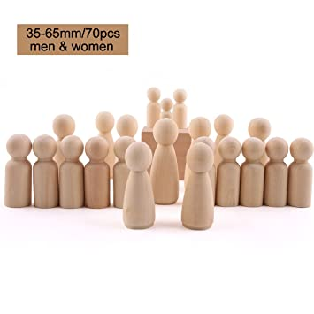 35mm 43mm 55mm 65mm Girls Boys Peg Dolls Solid Hardwood Unfinished Wooden Toy