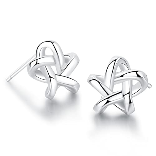 a2f6cd06f Amazon.com: 18K White Gold Plated Sterling Silver Stud Earrings For Women Fine  Jewelry Weave Star Earring: Jewelry
