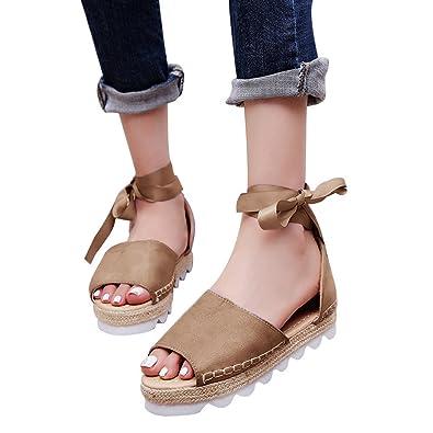 f3103c029634 Amazon.com  Womens Espadrilles Lace Tie up Flat Sandals Summer Peep Toe  Classic Mid Heel Shoes  Shoes