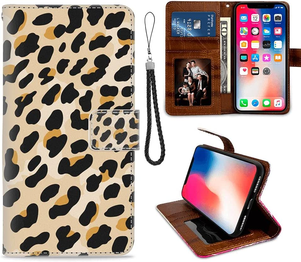 IPKaKa Wallet Case for iPhone X iPhone Xs - Yellow Black Leopard Print Pattern with Viewing Platform and Card Slot Magnetic Buckle Flap and Wristband Wallet Clip
