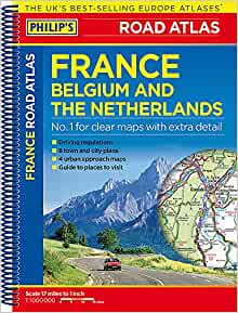 Clear Map Of France.Philip S Road Atlas France Belgium And The Netherlands Philip S