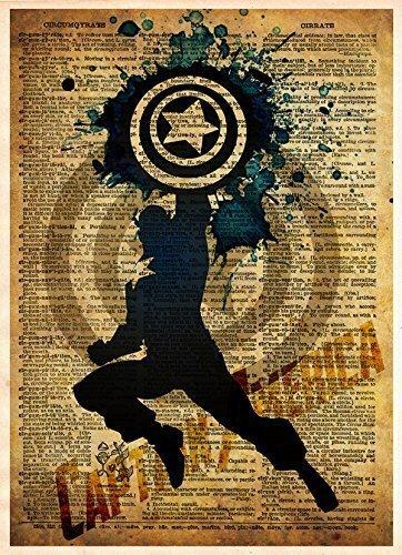 (Captain America art print, splatter art, superhero decor, cool pop art, vintage dictionary art print)