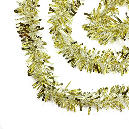 Northlight Festive Thick Cut Christmas Tinsel Garland Unlit-6 Ply, 50' , Gold/White (Garland Tinsel Gold)
