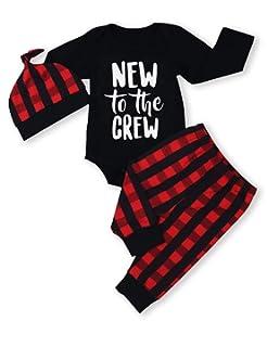 0e65d361c Amazon.com  Buffalo Plaid Moose Lumberjack Red Black Baby Romper ...