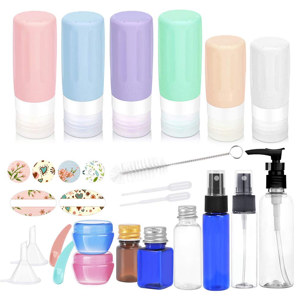 22 Pack Travel Bottles Set - Cehomi 3 Ounce Leakproof Silicone Refillable Travel Containers, Squeezable Travel Tube Sets, Perfect for Business Trip or Personal Travel