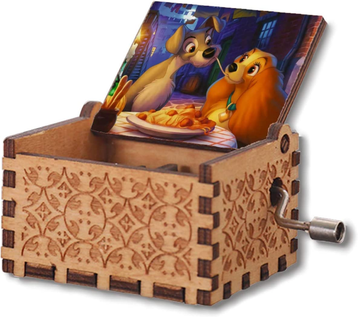 VINMEN Lady The Tramp Wooden Music Box Hand Crank Carved Musical Box Gifts for Birthday Hand-Operated Toys for Kids Boys Girls