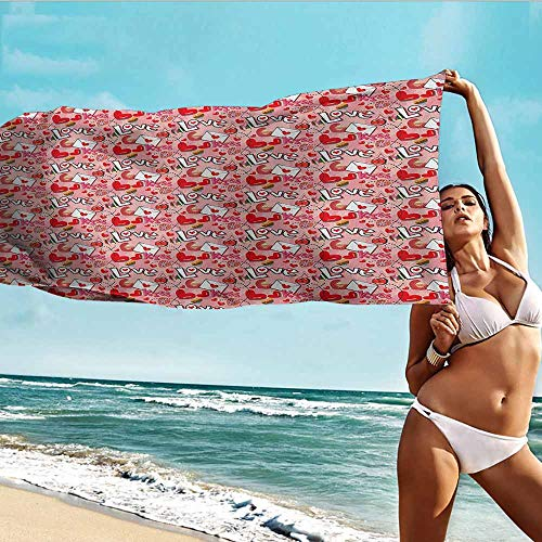 Beihai1Sun Baby Towel,Love Crazy Love Theme Red Hearts and Kisses Envelopes Letters Fun Girls Cartoon Pattern,Hotel & Spa Bath Towel,W40x20L, Multicolor - Red Envelope Robe Cotton