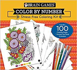 Brain Games Color by Number StressFree Coloring Kit Editors of