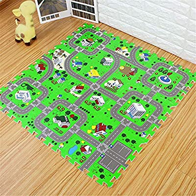Traffic Play mat Puzzle Foam Interlocking Tiles – Kids Road Traffic Play Rug - Children Educational Playmat Rug - Great for Playing with Toy Cars Trucks (9 Piece Set): Toys & Games