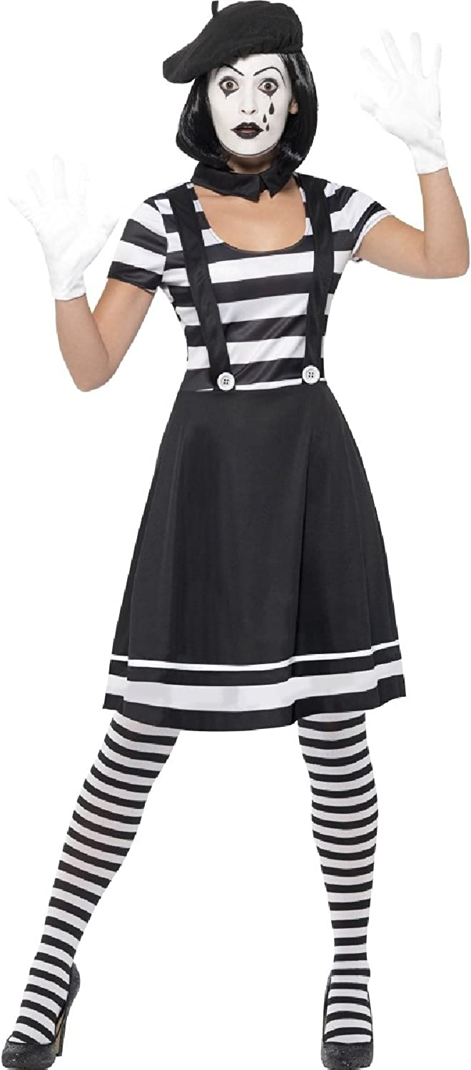 Ladies French Mime Artist Circus Performer Carnival Clown Halloween Fancy Dress Costume Outfit UK 8-18