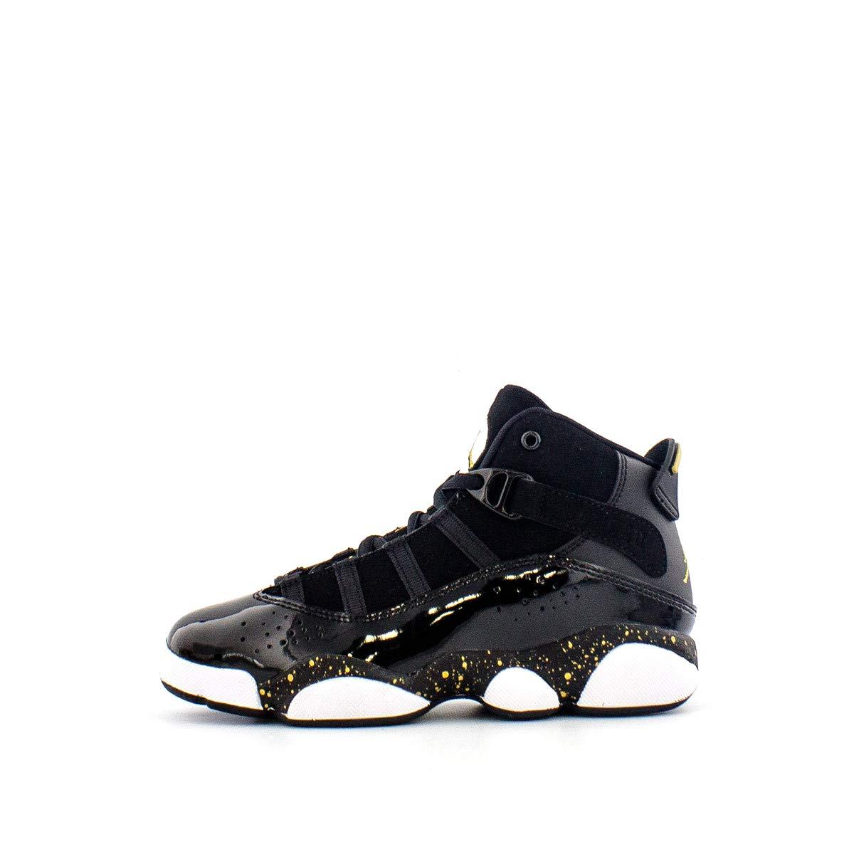 Jordan 6 Rings Black/Metallic Gold-White (PS) (1.5 M US Little Kid)