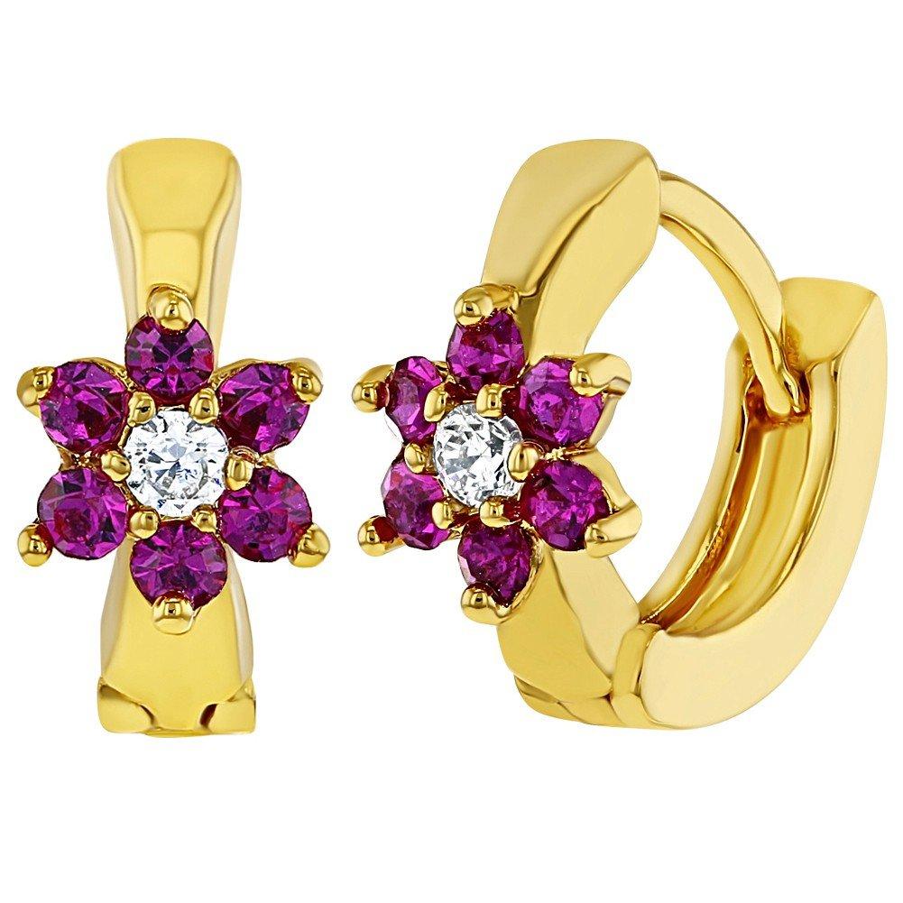 In Season Jewelry - Filles Enfants - Fleur Boucles d'oreilles - Plaqué or 18k - Rose Chaud Cristal Clair - Anneau - 10mm 03-0806