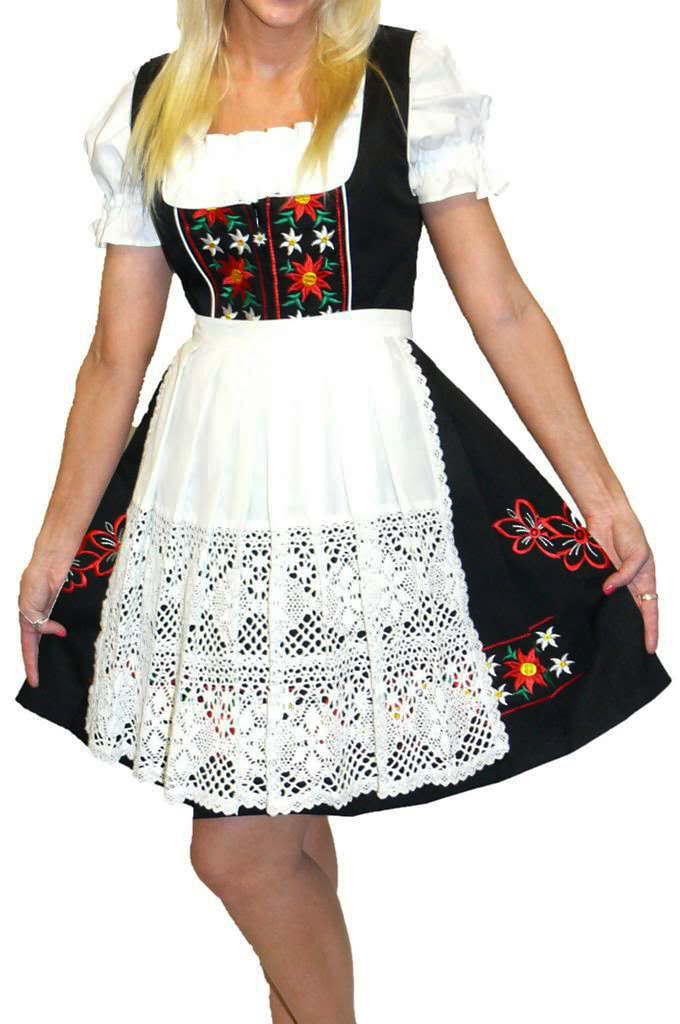 Dirndl Trachten Haus 3-Piece Short German Wear Party Oktoberfest Hostess Dress 8 38 Black