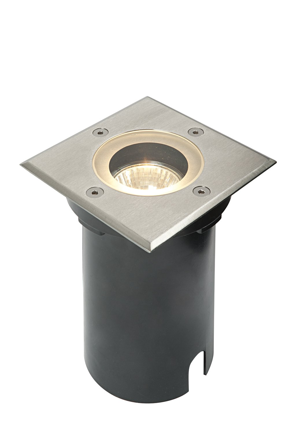 50W Round Polished Stainless Steel Outdoor Garden Pathway IP65 Recessed LED Compatible GU10 Walkover Floor Ground Uplighter Betta Lighting