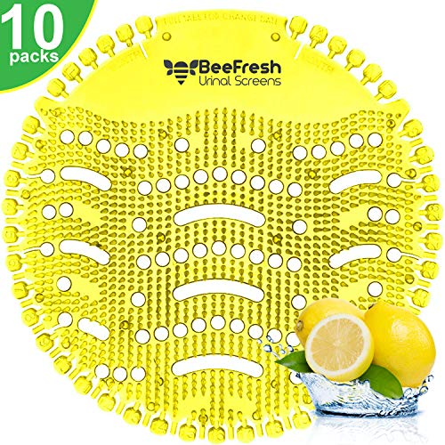 Urinal Screen Deodorizer (10 Pack), Urinal Cake, Anti-Splash & Odor Freshener, Scent Lasts for Up to 5000 Flushes -Ideal for Bathrooms, Restrooms, Office, Restaurants, Schools (Yellow Lemon)