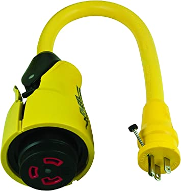 MARINCO EEL-STYLE SHORE POWER STRAIGHT ADAPTER 20A//125V MALE 30A//125V FEMALE