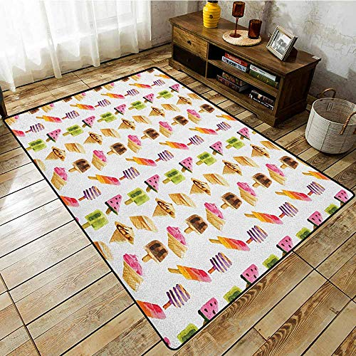 Large Area Rug,Ice Cream,Artistic Watercolor Pattern with Different Products Choc Ice Freshness Enjoyment,with No-Slip Backing Multicolor