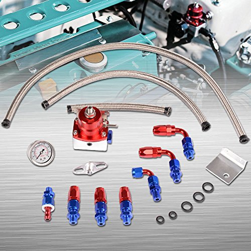 Universal Adjustable EFI Aluminum Fuel Pressure Regulator Kit WIth Oil 160psi Gauge Braided AN6-6AN Fuel Line Hose Fittings (Red)