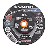 Walter Surface Technologies 08P500 Xcavator Ultra Aggressive Grinding Wheel, Type 27, Threaded Hole, Aluminum Oxide, Grit A-16-P, 5'' Diameter, 1/4'' Thick, 5/8''-11 Spin-On Arbor, Black (Pack of 20)