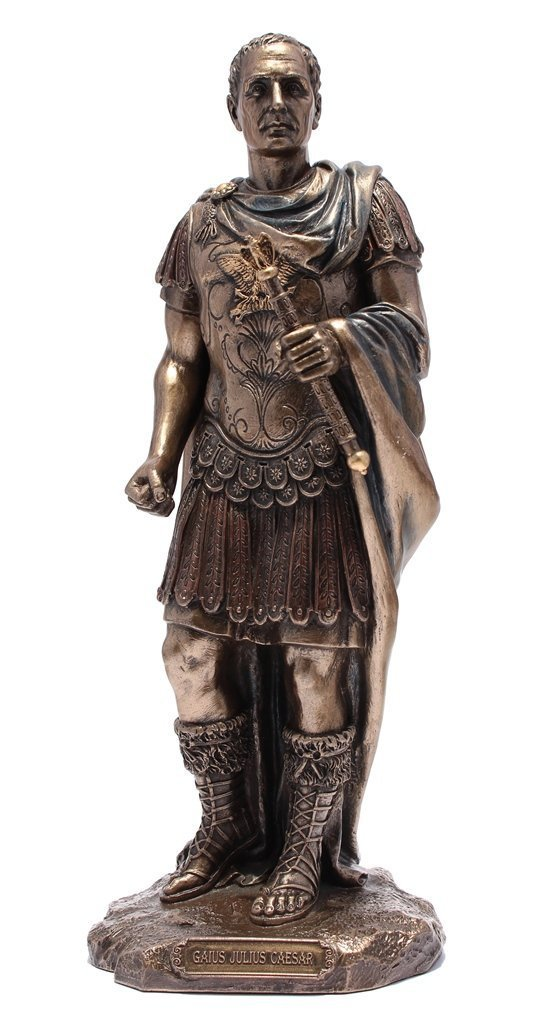 Gaius Julius Caesar in Roman Military Uniform Statue Bronze Finish