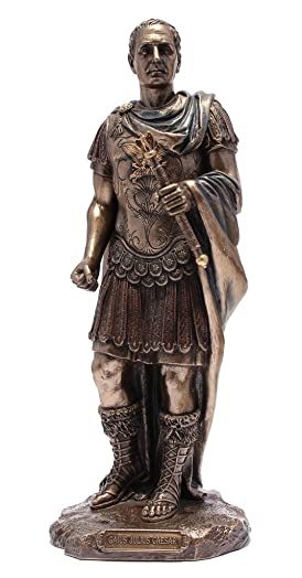 Gaius Julius Caesar in Roman Military Uniform Statue Bronze Finish