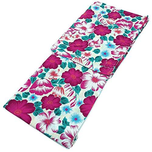 魔術前件頭レディース 浴衣 単品 国内染め 白色地に花尽くし(ピンク) フリーサイズ 変わり織