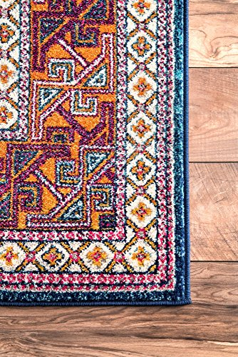 """nuLOOM Marisela Tribal Runner Rug, 2' 8"""" x 8', Navy - Features a Novelty design Construction: machine made Material is 100% polypropylene - runner-rugs, entryway-furniture-decor, entryway-laundry-room - 61S GugqIVL -"""