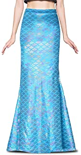 a39a218990f6 Jescakoo Ladies Sexy Maxi Long Shiny Mermaid Skirts Green and Blue S-XXL