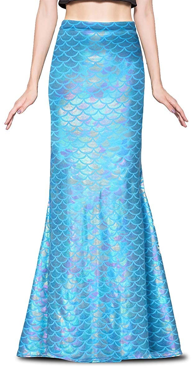 Ladies Long Iridescent Baby Blue Fish Scale Print Stretchy Flared Mermaid Skirt - DeluxeAdultCostumes.com