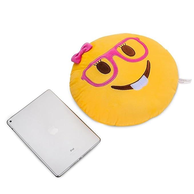 Lady Nerd Face Emoji Soft Stuffed Plush Cushion Pillow - 35x35x8cm Grande Suave Emoticono Cojín Almohada de Peluche Felpa Almohadilla - Regalo Para ...