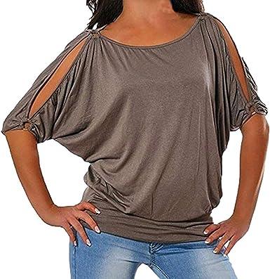 Camiseta Mujer Elegante Sexy Manga Corta Color sólido Hombro sin Tirantes Moda Fiesta Cuello Redondo Blusa Camisa Suelto Verano Camiseta Tops Casual T-Shirt Original vpass: Amazon.es: Ropa y accesorios