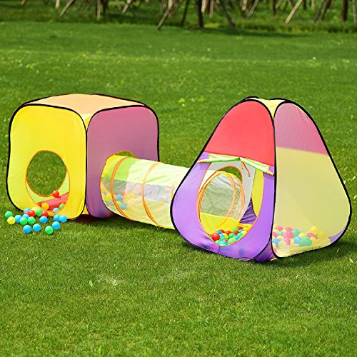 (COSTWAY 3 In 1 Folding Pop Up Kids Play Tent Tunnel SpiritOne)