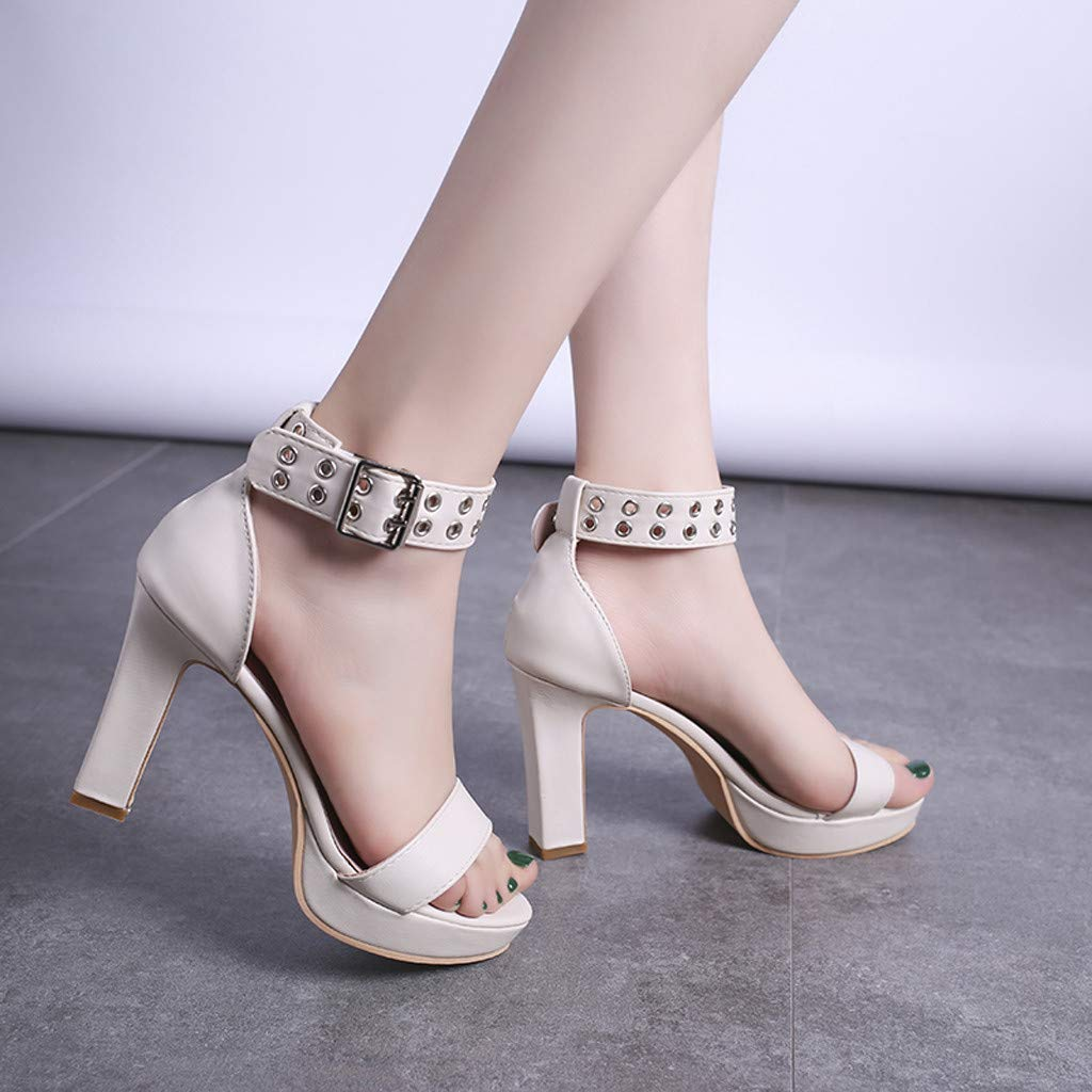 Womens Summer Open Toe Ankle Strap Chunky Block High Heel Dress Party Pump Sandals Beige by CCOOfhhc (Image #7)