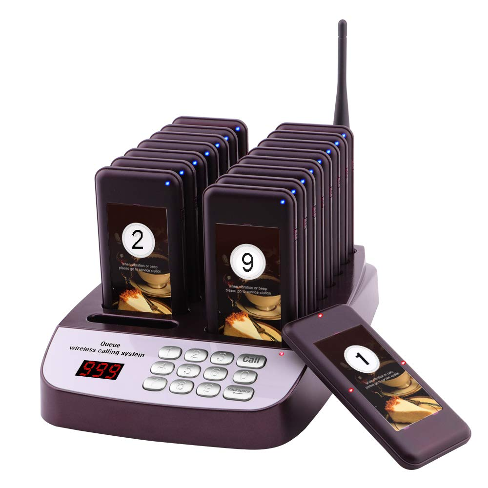 JOYSAE Restaurant Pager System Portable Wireless Calling System with 16pcs Coaster Pagers and 1pc Call Button Keypad Transmitter for Restaurant Clinic Church Cafe Shop