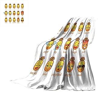 Amazon com: RamonDecorFH Emoji,Baby Blanket Funny Pineapples