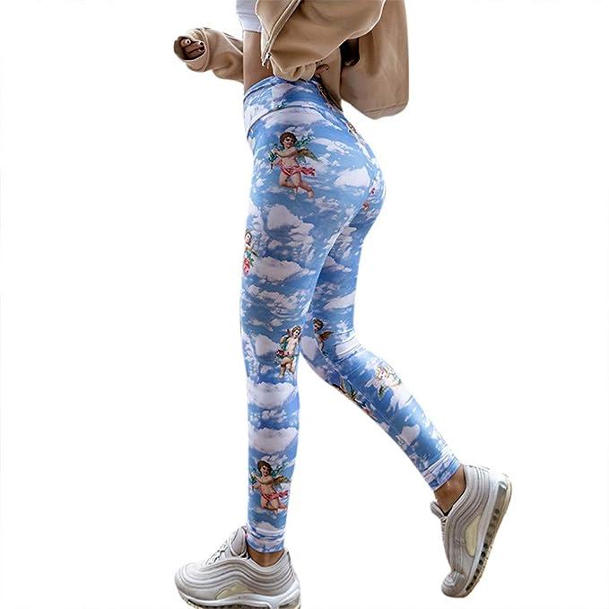 VPASS Mujer Pantalones,Elásticos Impresión Moda Pantalones ...