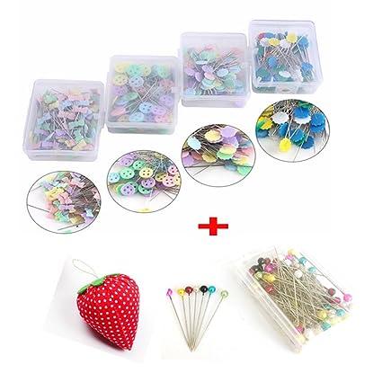 LNKA 500pcs Flat Button Pin Flower Pin Ribbon Head Pins Boxed for Sewing  DIY Quilting Pin (Assorted Colors) with 1pcs Pincushion