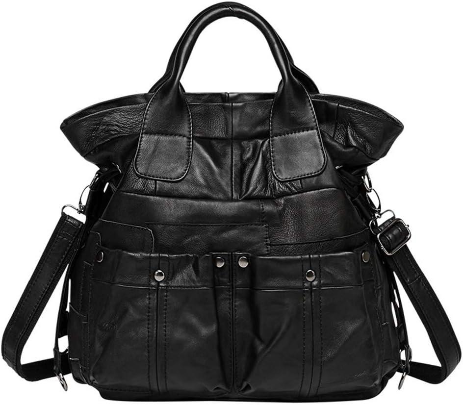 メッセンジャーバッグシープスキンレザーハンドバッグさんポータブルショルダーバッグ大容量バッグステッチ40 * 12 * 35センチメートル 実用的