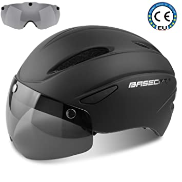 7b78135e23b Basecamp Bike helmets, CE Certified Cycling Helmet with Detachable Magnetic  Goggles Visor Shield Adjustable Unisex