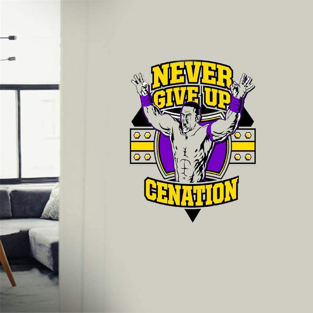 Amazon Com John Cena Quote Wrestling Wrestling Fighter Wwe Motivation Quote Saying Never Give Up Wall Art Sticker Design Home House Wall Room Vinyl Sticker Windows Bedroom Decoration Home Kitchen